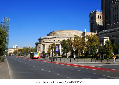 Warsaw, Poland - October 6 2018: The Sala Kongress in Warsaw on a sunny day