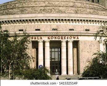Warsaw, Poland - October 9, 2018: Congress Hall in the Palace of Culture and Science in Warsaw, close-up. Entrance to the Congress Hall with an inscription-name on the stone wall of 'Sala Kongresowa'