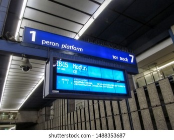 Warsaw, Poland - October 9, 2018: Information display on the platform at the Warszawa Centralna railway station. The scoreboard reports that the train leaves for Modlin on track 7 of platform 1