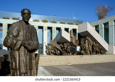 Warsaw, Poland - October31, 2018: Warsaw Uprising Monument, dedicated to Warsaw Uprising in 1944 against the Nazi occupiers.