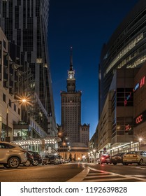 Warsaw, Poland - Oktober 27 2018: center of Warsaw with the Palace of Culture and Science before dawn