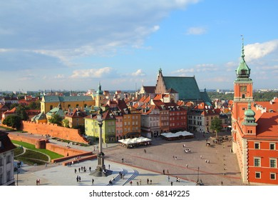 Warsaw, Poland. Old Town - famous Royal Castle on the right. UNESCO World Heritage Site.