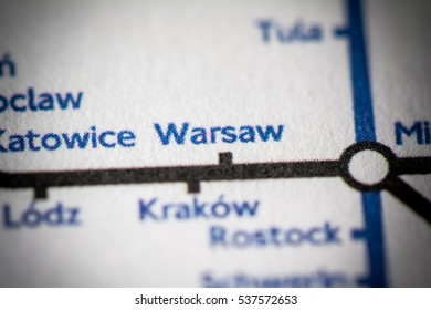 Warsaw, Poland on a geographical map.