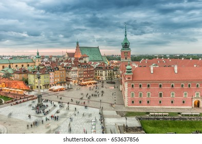 Warsaw, Poland, panorama of old city with royal castle and st John cathedral