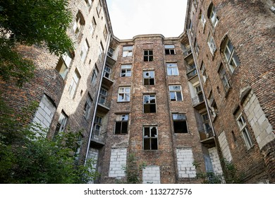 Warsaw, Poland. The remains of a damaged building that formed part of the Warsaw Ghetto during World War II. Waliców Street, Warszawa.