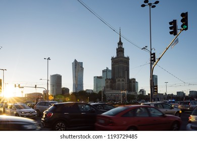 Warsaw, Poland - Sept 30 , 2018: The Palace of Culture and Science and night traffic during rush hour.