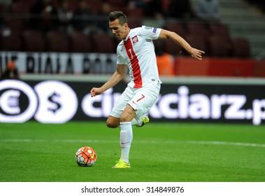 WARSAW, POLAND - SEPTEMBER 07 , 2015: EURO 2016 EURO France Football Cup Qualifiers Poland vs Gibraltaro/p Arkadiusz Milik