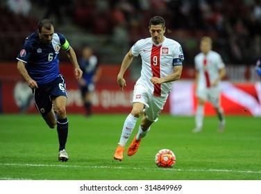 WARSAW, POLAND - SEPTEMBER 07 , 2015: EURO 2016 EURO France Football Cup Qualifiers Poland vs Gibraltaro/p Roy Chipolina Robert Lewandowski