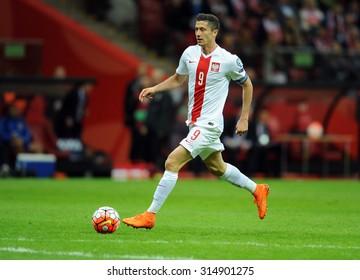 WARSAW, POLAND - SEPTEMBER 07 , 2015: EURO 2016 EURO France Football Cup Qualifiers Poland vs Gibraltaro/p Robert Lewandowski