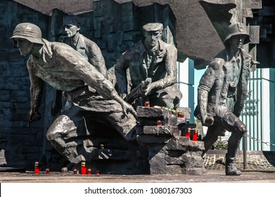 Warsaw, Poland - September 1, 2005: Warsaw Uprising Monument in front of Supreme Court of the Republic of Poland building in Warsaw city