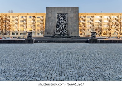 WARSAW, POLAND - SEPTEMBER 10, 2015: The Monument to the Ghetto Heroes commemorates the fight against the Nazis during the uprising in 1943 It was created by Nathan Jakow Rappaport in 1948