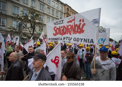 WARSAW, POLAND, SEPTEMBER 11: Unidentified Trade unionists during a demonstration the first day of the Polish national days of protest in Warsaw. Poland 2013.