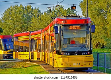WARSAW, POLAND - SEPTEMBER 12, 2016 - Bi-directional Jazz tram, produced by Polish company Pesa, standing at the Tarchomin Koscielny tramway terminus (loop)
