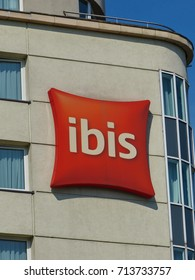WARSAW, POLAND - SEPTEMBER 12, 2017: The logo for the Ibis international hotel company, which is owned by AccorHotels