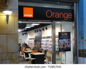 WARSAW, POLAND - SEPTEMBER 12, 2017: Orange GSM store. Orange Shop, mobile phone network company. Orange is a French multinational telecommunications corporation.