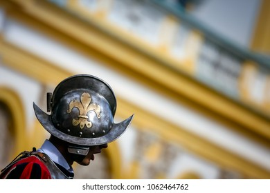 WARSAW, POLAND - SEPTEMBER 13, 2009: Royal guard wearing a helmet with the Fleur de Lis sign, at Wilanow Royal Palace Days of Wilanow
