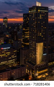 Warsaw, Poland - September 15, 2017: Sunset view over the Warsaw City Center with its modern skyscrapers