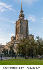 Warsaw, Poland - September 15, 2017: Sunset view of the unique, soviet-style Palace of Science and Culture in the center of Poland's capital Warsaw