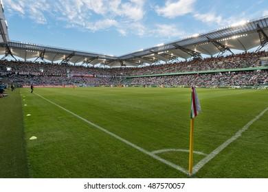 WARSAW, POLAND - SEPTEMBER 18, 2016: Match Polish PremIer League Lotto Ekstraklasa between Legia Warszawa - KGHM Zaglebie Lubin 2:3. Stadium of Legia.