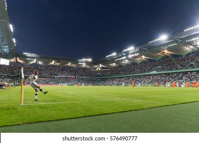 WARSAW, POLAND - SEPTEMBER 18, 2016: Match Polish PremIer League Lotto Ekstraklasa between Legia Warszawa - KGHM Zaglebie Lubin 2:3. Corner shoting Thibault Moulin.