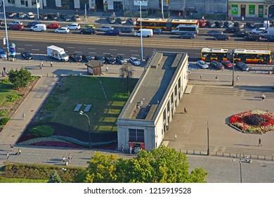 WARSAW, POLAND - SEPTEMBER 19, 2018 - Aerial view of Warszawa Srodmiescie railway station pavillion and Aleje Jerozolimskie (avenue)