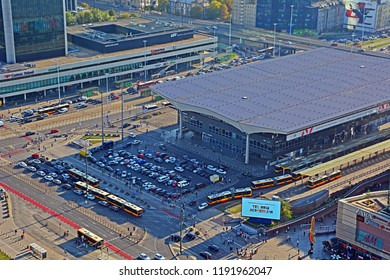 WARSAW, POLAND - SEPTEMBER 19, 2019 - Above view of Warszawa Centralna (Warsaw Central) main railway station, with the interection of Jerozolimskie Av and Emilii Plater streets