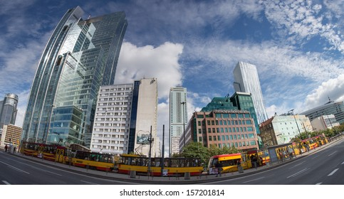 WARSAW, POLAND, SEPTEMBER 20: Panoramic view of the modern architecture in Warsaw downtown on September 20, 2013 in Warsaw, Poland. View of the Rondo1 skyscraper and Kaskada - banking office center.