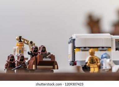 Warsaw, Poland - September 2018 - Lego minifigures droids hide