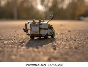 Warsaw, Poland - September 2018 - Lego minifigures droids on truck