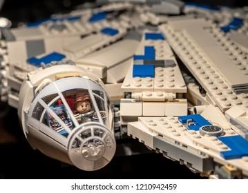 Warsaw, Poland - September 2018 - Lego minifigure Han Solo in Millenium Falcon