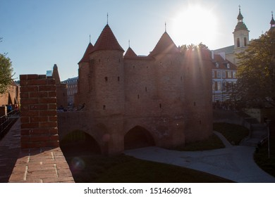 Warsaw, Poland - September 22 2019: Warsaw Barbican is a semicircular fortified outpost, which is one of the few surviving elements of the 16th-century fortification complex surrounding Warsaw.