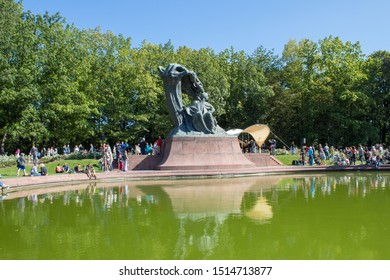 Warsaw/ Poland - September 22 2019: Monument to Chopin in Warsaw is Art Nouveau statue depicting the Polish composer F. Chopin. Located in the royal park Lazienki.