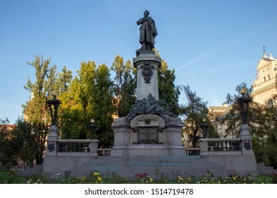 Warsaw/ Poland - September 22 2019: Monument to Adam Mickiewicz is monument erected in honor of the great Polish poet, political journalist, activist of the national liberation movement in Warsaw.