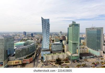 WARSAW, POLAND - SEPTEMBER 25: View of the capital city from the top of the Palace of Sciences and Culture on September 25, 2014 in Warsaw, Poland.