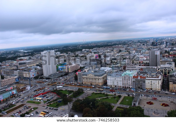 Warsaw, Poland - September 27, 2017: Urban Warsaw top view under dark clouds. Modern architecture.
