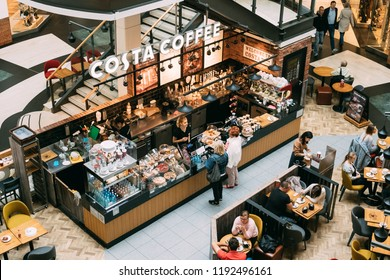 Warsaw, Poland - September 27, 2018: People Visiting Costa Coffee coffeehouse in shopping mall. Costa Coffee is the second largest coffeehouse chain in the world, and the largest in the UK