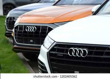 Warsaw, Poland - September, 28, 2018: Audi SUV cars presented on exhibition point.