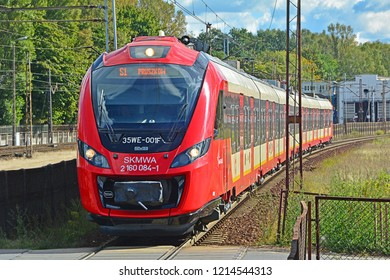 WARSAW, POLAND - SEPTEMBER 29, 2018 - 35WE city train, produced by Newag and operated by SKM Warszawa