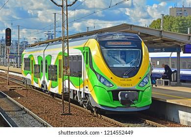 WARSAW, POLAND - SEPTEMBER 29, 2018 - Newag 222M diesel train, operated by Koleje Mazowieckie, at Warszawa Wschodnia station