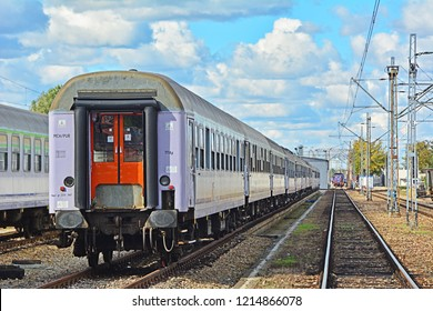 WARSAW, POLAND - SEPTEMBER 29, 2018 - PKP Intercity carriages (cars) at Warszawa Grochow stabling tracks