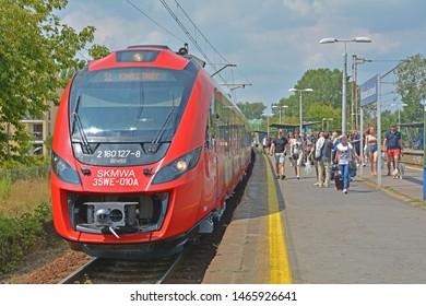 WARSAW, POLAND - SEPTEMBER 29, 2018 - 35WE city train, produced by Newag and operated by SKM Warszawa, at Warszawa Goclawek railway station