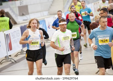 Warsaw, Poland, September 30: Unidentified runners on 34th. Warsaw Marathon on September 30, 2012, Warsaw, Poland