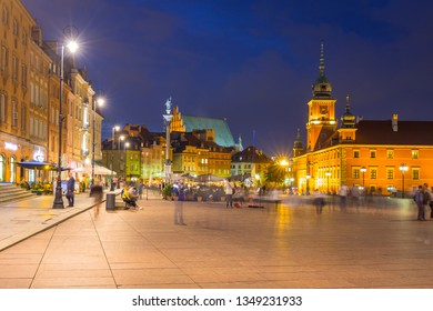 Warsaw, Poland - September 5, 2018: Architecture of the Royal Castle square in Warsaw city at night, Poland. Warsaw is the capital and largest city of Poland.