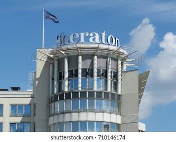 WARSAW, POLAND - SEPTEMBER 6, 2017: Sheraton hotel building in Warsaw downtown. Sheraton is part of Starwood Hotels group; one of the largest worldwide.