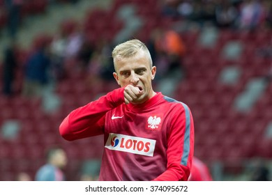 WARSAW, POLAND - SEPTEMBER 7, 2015: Kamil Grosicki (Poland) before the EURO 2016 qualification match between Poland and Gibraltar at the National Stadium on September 7, 2015 in Warsaw, Poland.