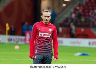 WARSAW, POLAND - SEPTEMBER 7, 2015: Sebastian Mila (Poland) before the EURO 2016 qualification match between Poland and Gibraltar at the National Stadium on September 7, 2015 in Warsaw, Poland.