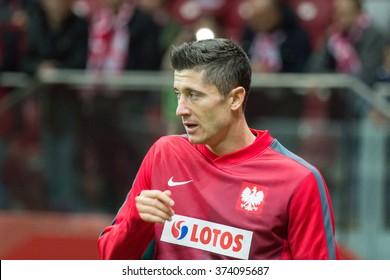 WARSAW, POLAND - SEPTEMBER 7, 2015: Robert Lewandowski (Poland) before the EURO 2016 qualification match between Poland and Gibraltar at the National Stadium on September 7, 2015 in Warsaw, Poland.