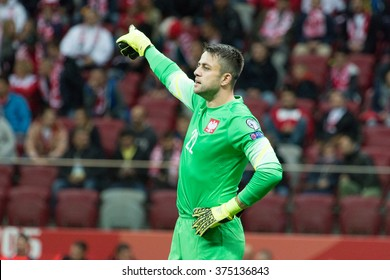 WARSAW, POLAND - SEPTEMBER 7, 2015: Lukasz Fabianski (Poland) during the EURO 2016 qualification match between Poland and Gibraltar at the National Stadium on September 7, 2015 in Warsaw, Poland.
