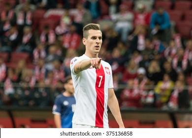 WARSAW, POLAND - SEPTEMBER 7, 2015: Arkadiusz Milik (Poland) during the EURO 2016 qualification match between Poland and Gibraltar at the National Stadium on September 7, 2015 in Warsaw, Poland.