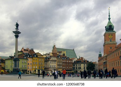 Warsaw, Poland - September 7, 2017: Sigismund's Column Monument. The column of the monument, king with a sabre, City Square with citizens and tourists. Warsaw